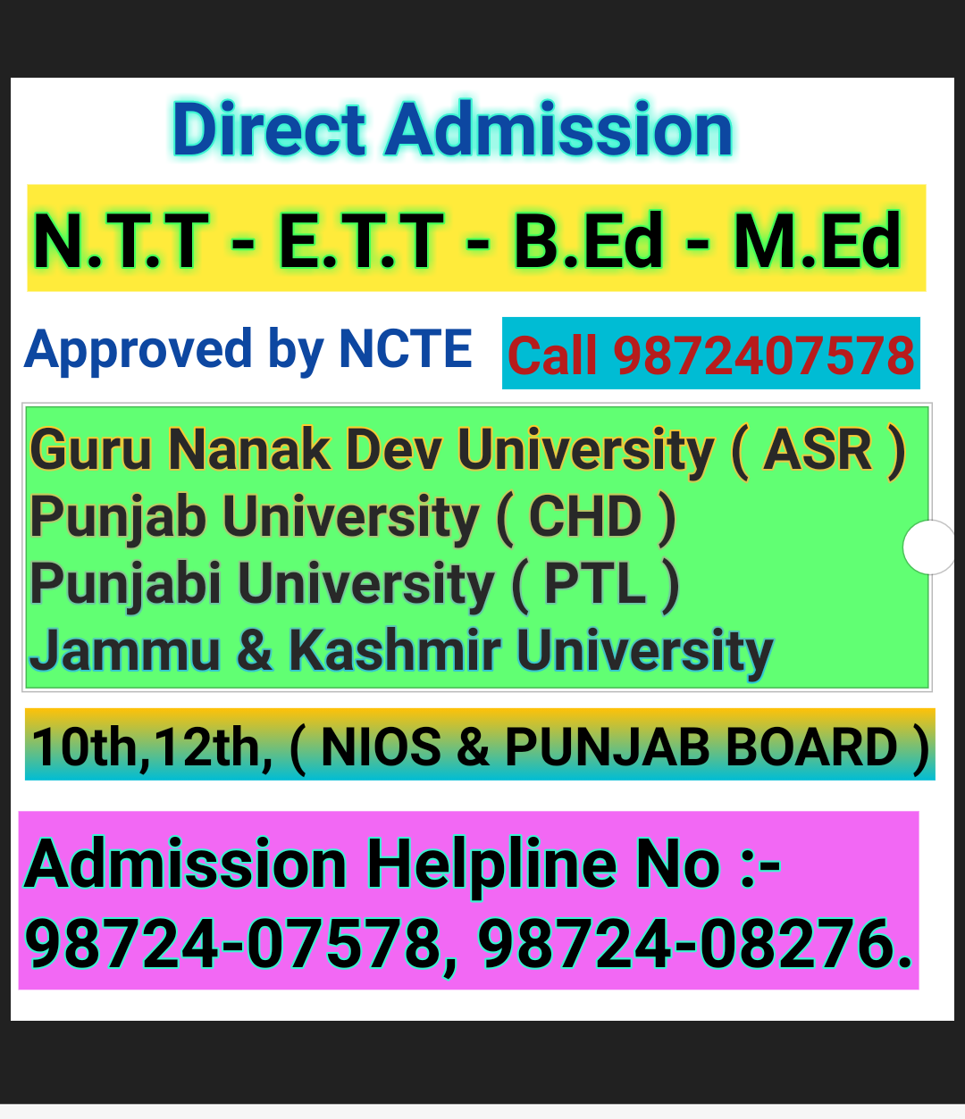 B.Ed Course Punjab/ E.T.T Course from Punjab  Call 9872407578