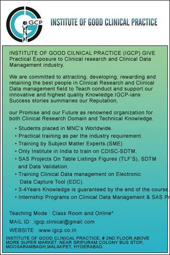 Training for CR,CDM,SAS at IGCP, Dilsukhnagar in Hyderabad listed under Education - Professional Courses