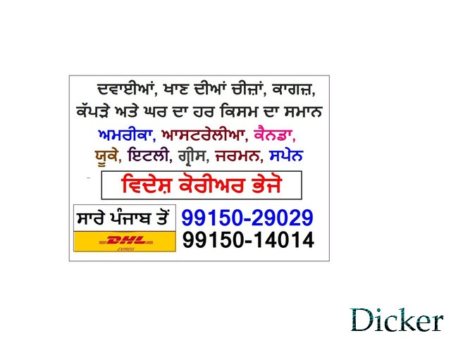 CALL 9915014014 MEDICINE COURIER JALANDHAR TO UK USA CANADA AUS in  listed under Services - Courier Services