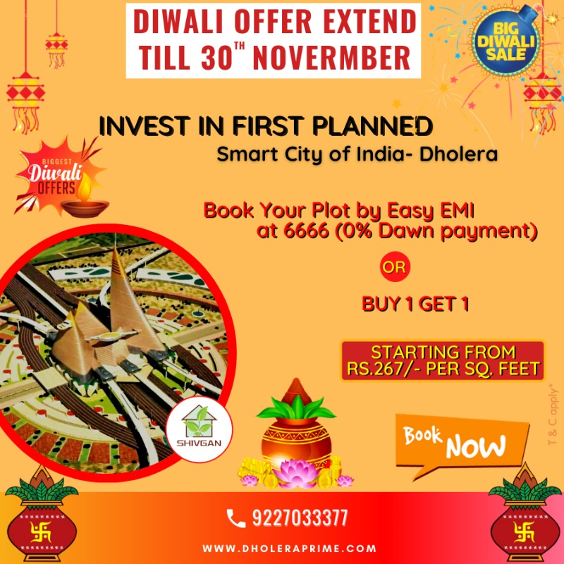Hurry Diwali offer extend till Dev Diwali Book Plot in Dholera in  listed under Real Estate - Appartments for Sale