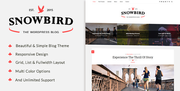 SnowBird - A Responisve WordPress Blog Theme