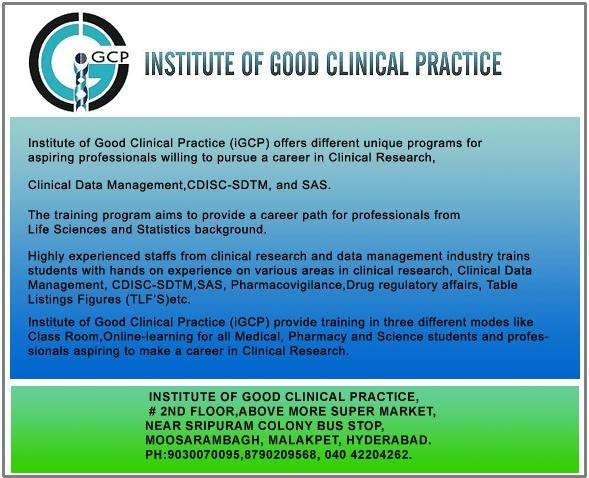 TRAINING ON CLINICAL RESEARCH,CDM,SDTM,DAM,PV,SAS COURSES
