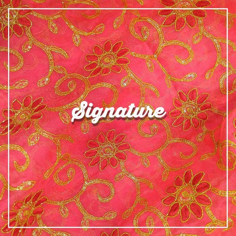 Buy Coral Pink Organza Fabric With Floral Thread and Golden Sequence Work at MK SIGNATURE  in  listed under Lifestyle - Fashion Accessories