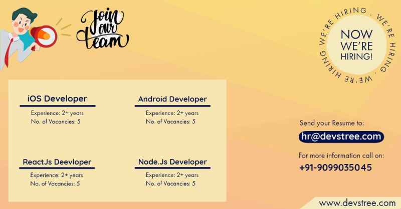 Urgently Hiring for Android, iOS, ReactJS & Node.JS Developers | 2+ Yrs of experience in  listed under Jobs - IT Hardware / Software