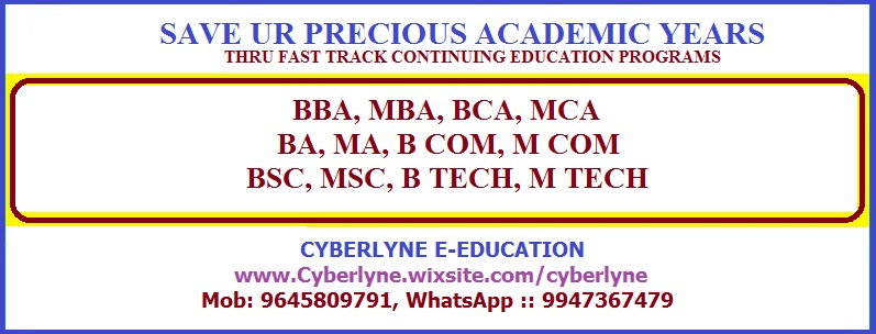 B TECH, M TECH, BBA, MBA, BCA, MCA IN ONE SITTING FAST TRACK !!!