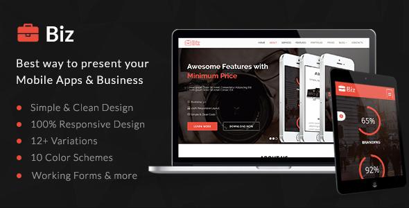 Biz - Simple & Clean HTML5 Business Landing Page