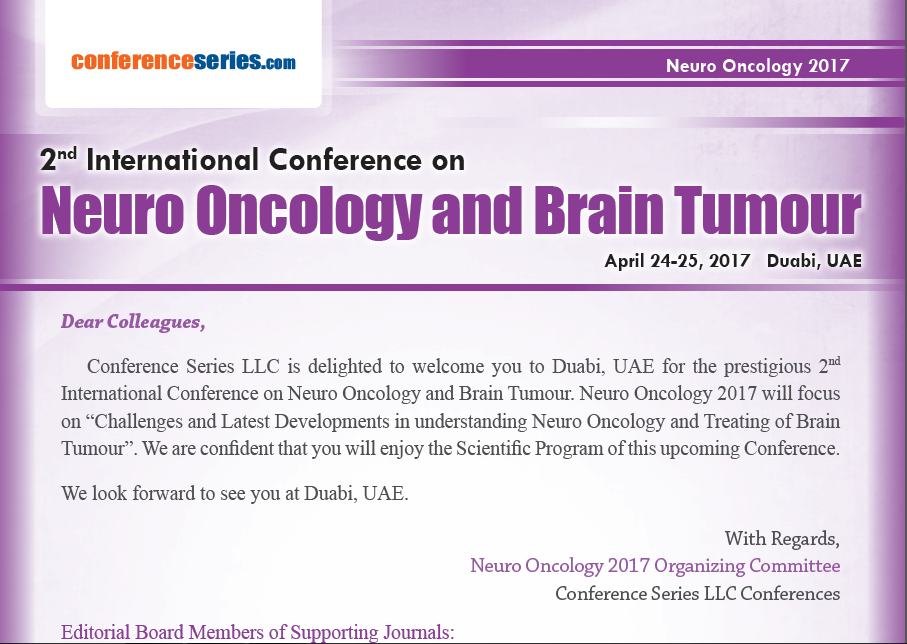 2nd International Conference on Neuro Oncology and Brain Tumour April 24-25, 2017 Dubai, UAE