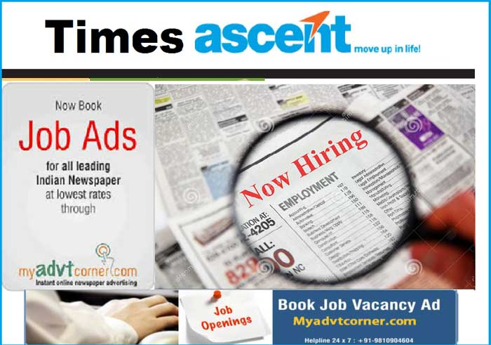 Times Ascent Job Ads Booking Online in  listed under Services - Advertising / Design