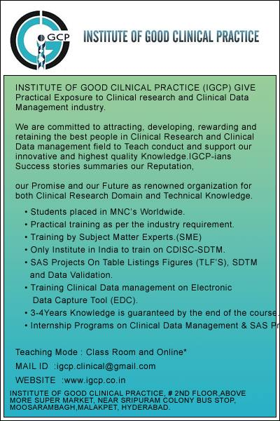 Certificate Course in Clinical Research and Data Management